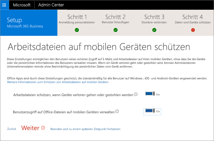"""Screenshot der Seite """"Arbeitsdateien auf Ihren mobilen Geräten schützen"""""""