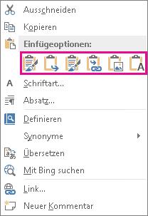 Schaltflächengruppe mit fünf Optionen zum Einfügen von Excel-Diagrammen in Word
