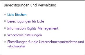 """Liste der Links für """"Berechtigungen und Einstellungen"""""""