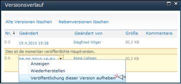 Dropdownfeld im Dialogfeld 'Versionsverlauf' mit ausgewählter Option 'Veröffentlichung dieser Version aufheben'