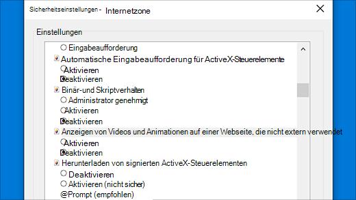 Sicherheitseinstellungen: ActiveX-Steuerelemente in Internet Explorer