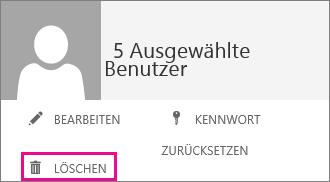 """Screenshot des Menüs, das angezeigt wird, wenn mehrere Benutzer ausgewählt sind. Die Schaltfläche """"Löschen"""" ist hervorgehoben."""