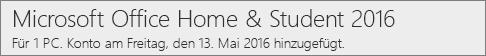 Anzeige der PC-Version von Office 2016 auf Office.com/myaccount