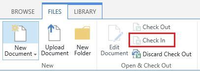 Schaltfläche ' Einchecken ' auf der Registerkarte ' Dateien '