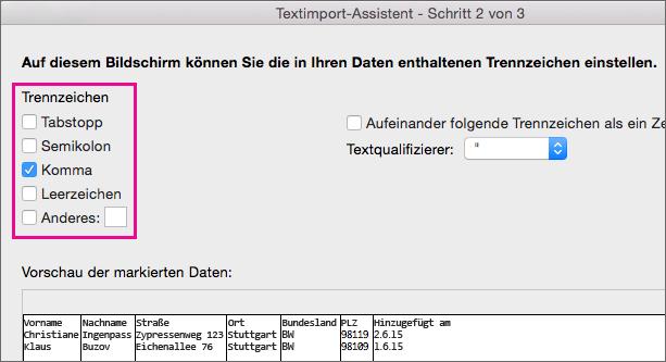 Schritt 2 des Textkonvertierungs-Assistenten