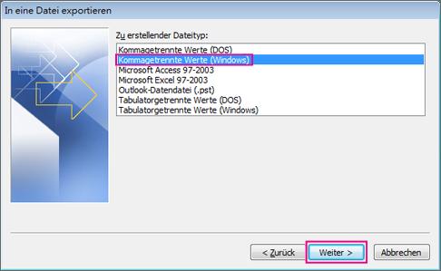 Wählen Sie aus, dass Sie in eine CSV-Datei (Windows) exportieren möchten.