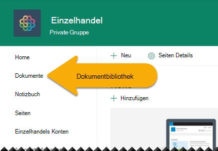 Wählen Sie im linken Navigationsbereich Dokumente aus, um die Dokumentbibliothek zu öffnen.