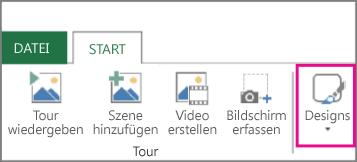 Schaltfläche 'Design' auf der Power Map-Registerkarte 'Start'