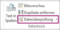 """""""Datenüberprüfung"""" auf der Registerkarte """"Daten"""""""