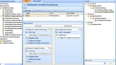 Bildschirmabbild eines entworfenen Dashboards