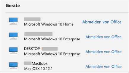 """Zeigt Windows- und Mac-Geräte sowie den Link zum Abmelden von Office unter """"account.Microsoft.com"""" an."""