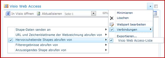 'Webpart bearbeiten'-Verbindungsmenü mit angezeigten Verbindungsoptionen
