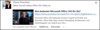 YouTube-Video, das in einen Newsfeedbeitrag eingebettet ist