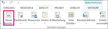 Schaltfläche 'Neuer Bericht' auf der Registerkarte 'Bericht'