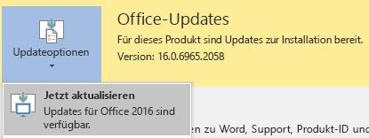"""Klicken Sie in der neuesten Version von Office 2016 auf """"Updateoptionen"""" und dann auf """"Jetzt aktualisieren""""."""