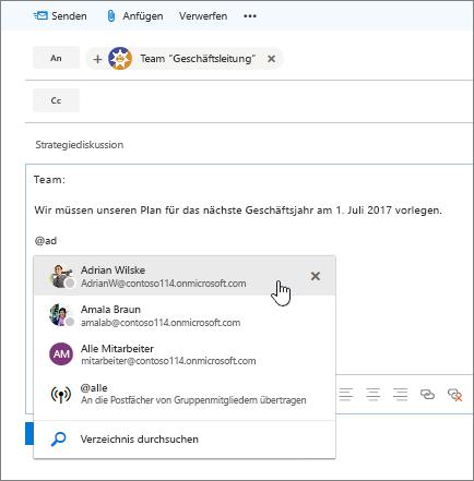 """Screenshot des Outlook-Dialogfelds """"Neue E-Mail"""", mit einer @Erwähnung im Text der Nachricht"""