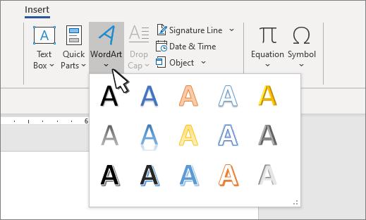 WordArt-Formatvorlagenkatalog
