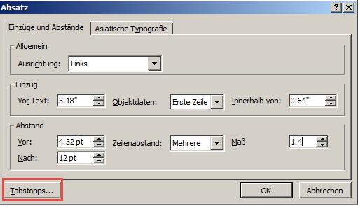 """Das Dialogfeld """"Absatz"""""""