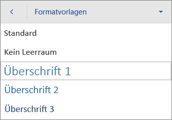 """Befehl """"Formatvorlagen"""" mit ausgewählter Option """"Überschrift 1"""""""