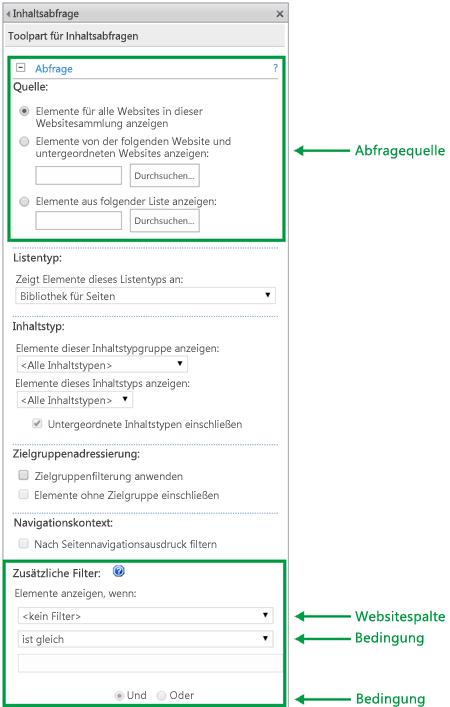 Abfragekonfiguration in einem Webpart für Inhaltsabfragen