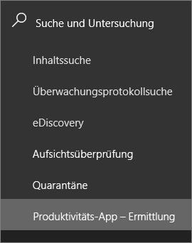 Screenshot zeigt im Abschnitt Suche und Untersuchung im linken Navigationsbereich des der Office 365-Sicherheit und Compliance-zentrieren und die Produktivität app Discovery ausgewählt ist.