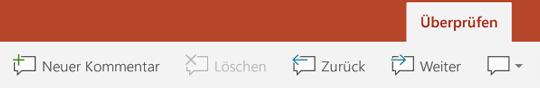 """Die Registerkarte """"Überprüfen"""" im Menüband in PowerPoint auf Android-Tablets enthält Schaltflächen für die Verwendung von Kommentaren."""