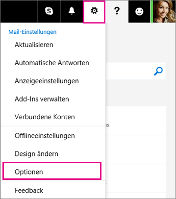 """Klicken Sie in auf """"Einstellungen"""" > """"Optionen""""."""