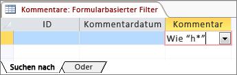 Formularbasierter Filter