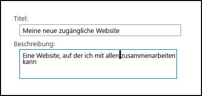 SharePoint Online-Dialogfeld 'Titel' ('Neue Website')