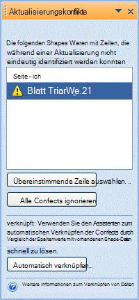 Fenster 'Aktualisierungskonflikte', in dem Shapes aufgeführt werden, die nicht verknüpft werden können, weil ein Problem mit dem eindeutigen Bezeichner besteht