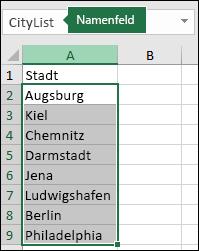 Ausgewählter benannter Bereich mit einem Namen im Adressfeld