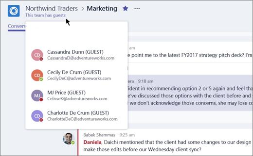 """Screenshot, der einen Teil des Marketingkanals für Northwind Traders mit der Benachrichtigung """"Dieses Team hat Gäste"""" im oberen Banner sowie mit Benutzern abbildet, die mit dem Wort """"GÄSTE"""" neben ihrem Namen als Gäste gekennzeichnet sind."""