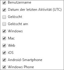Bericht zur Teams-App-Verwendung – Spalten auswählen