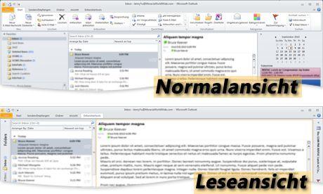 Outlook in den Ansichten 'Leselayout' und 'Normal'