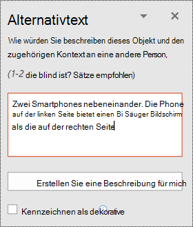 "Bereich ""Alternativtext"" in PowerPoint für Windows"
