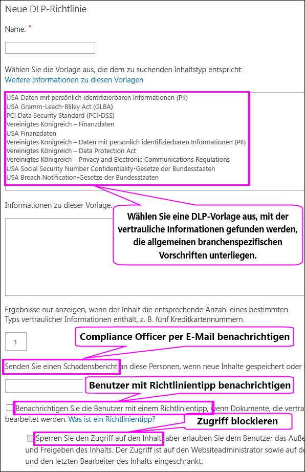 """Seite """"Neue DLP-Richtlinie"""""""