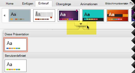 """Klicken Sie auf den nach unten zeigenden Pfeil, um den vollständigen Katalog """"Designs"""" zu öffnen."""