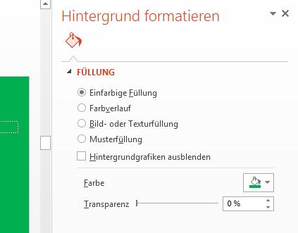 """Geben Sie die Farbe des Hintergrunds in der Liste """"Farben"""" im Bereich """"Hintergrund formatieren"""" an."""