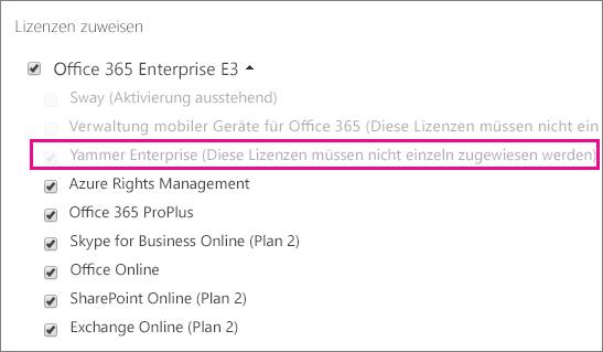 """Screenshot des Abschnitts """"Lizenzen zuweisen"""" im Office 365 Admin Center mit markierter Yammer Enterprise-Lizenz"""