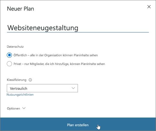 """Screenshot des Fensters """"Neuer Plan"""""""
