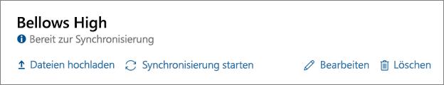 """Screenshot der abgeschlossenen Profiloptionen im Dashboard von School Data Sync, einschließlich der Option für """"Synchronisierung starten"""""""