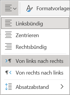 Menü Optionen für die Absatzausrichtung in OneNote für das Web.