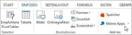 Screenshot des einen Teil der Registerkarte einfügen in der Excel-Multifunktionsleiste mit einem Cursor auf meine Apps. Wählen Sie meine Apps zu Access-apps für Excel aus.