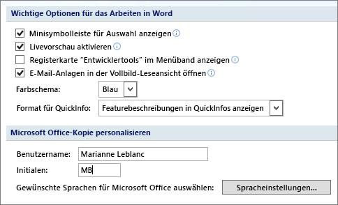 Beliebte Optionen für Word 2007