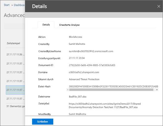 Wählen Sie im Threat Protection-Statusbericht ein Element aus, um weitere Details anzuzeigen.
