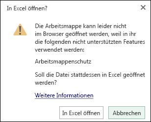Klicken Sie im Dialogfeld, wenn Sie eine kennwortgeschützte Arbeitsmappe in Excel Online öffnen