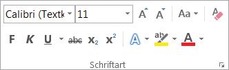 """Textformatierungsoptionen in der Gruppe """"Schriftart"""""""