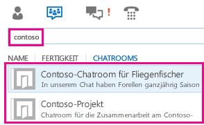 Screenshot der Chatroom-Ansicht des Lync-Hauptfensters mit Ergebnissen der Chatroomsuche