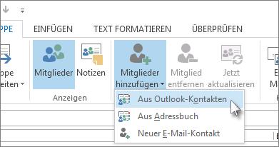 Mitglieder aus Outlook-Kontakten hinzufügen