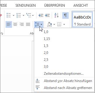 Screenshot der Registerkarte ' Start ' in Word mit der Zeilen- und Absatzabstand im Menü.